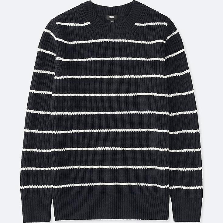 MEN MIDDLE GAUGE STRIPED CREW NECK SWEATER, NAVY, large