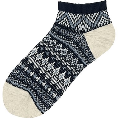 WOMEN SHORT SOCKS (FAIR ISLE), NAVY, medium