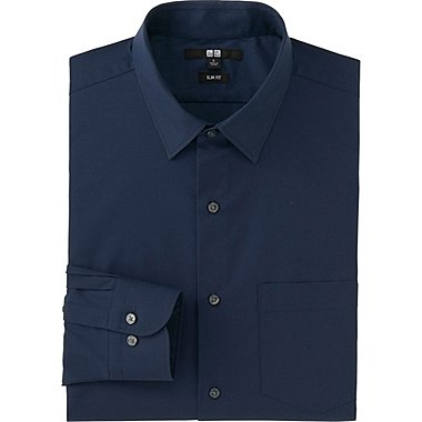 MEN EASY CARE SLIM FIT BROADCLOTH LONG SLEEVE SHIRT, NAVY, medium