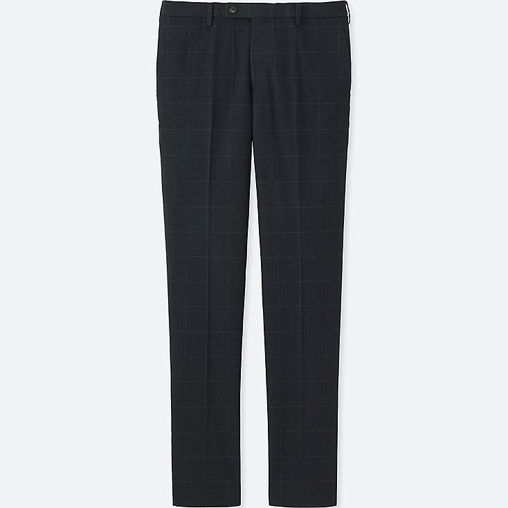 MEN HEATTECH STRETCH SLIM FIT FLAT FRONT PANTS, NAVY, large