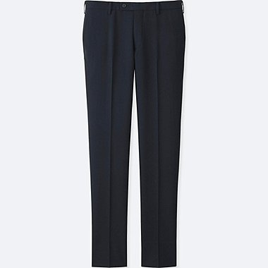 MEN STRETCH WOOL SLIM FIT FLAT FRONT PANTS, NAVY, medium