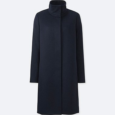 WOMEN Cashmere Blend Stand Collar Coat