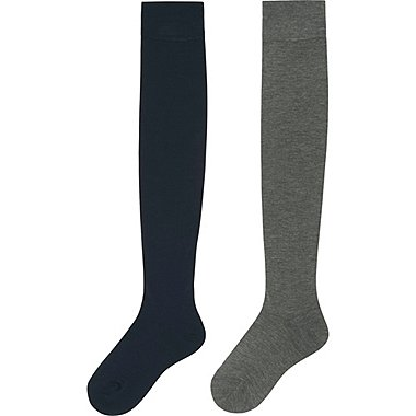 WOMEN HEATTECH OVER-THE-KNEE SOCKS 2P, NAVY, medium