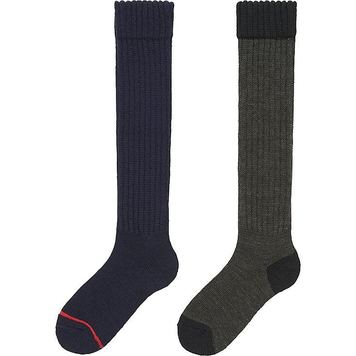 WOMEN HEATTECH KNEE HIGH SOCKS 2 PAIRS (PILE), NAVY, large