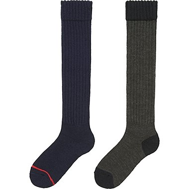 WOMEN HEATTECH KNEE HIGH SOCKS 2 PAIRS (PILE), NAVY, medium