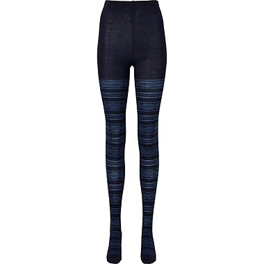 WOMEN HEATTECH KNITTED TIGHTS (FAIR ISLE), NAVY, medium
