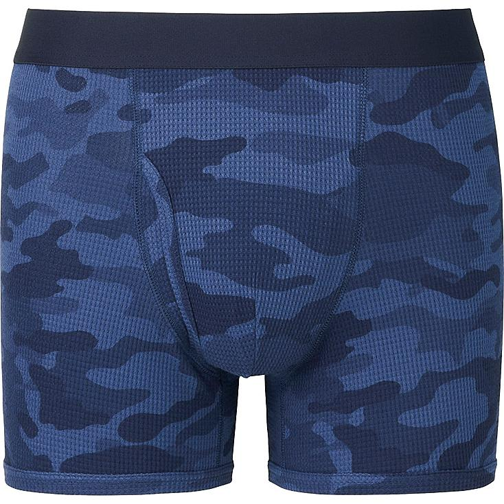 MEN Supima® COTTON WAFFLE PRINTED BOXER BRIEFS, NAVY, large