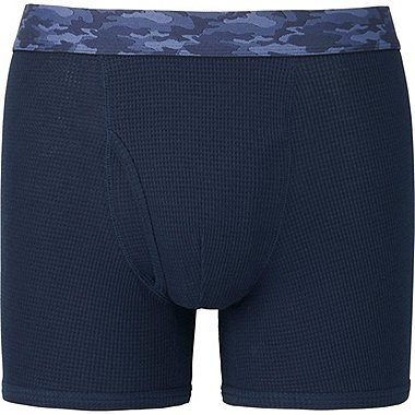 MEN SUPIMA COTTON WAFFLE BOXER BRIEFS, NAVY, medium