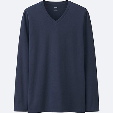 MEN Supima Cotton V Neck Long Sleeve T-Shirt