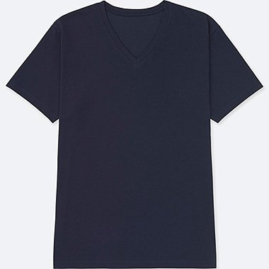 MEN PACKAGED DRY V-NECK SHORT SLEEVE T-SHIRT, NAVY, medium