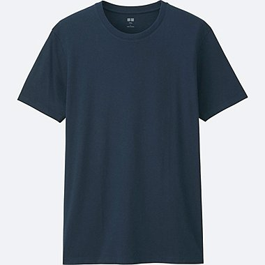 MEN Supima® COTTON CREWNECK SHORT-SLEEVE T-SHIRT, NAVY, medium