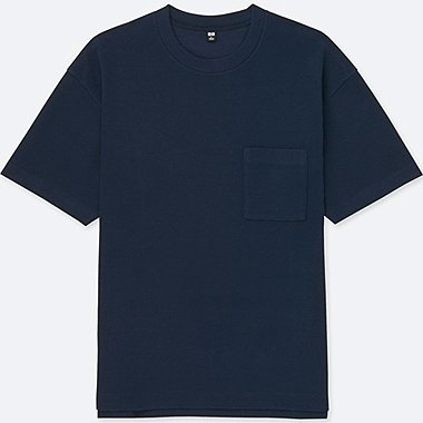 MEN OVERSIZED SHORT-SLEEVE CREWNECK T-SHIRT, NAVY, medium