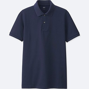 MEN DRY PIQUE SHORT SLEEVE POLO SHIRT, NAVY, medium