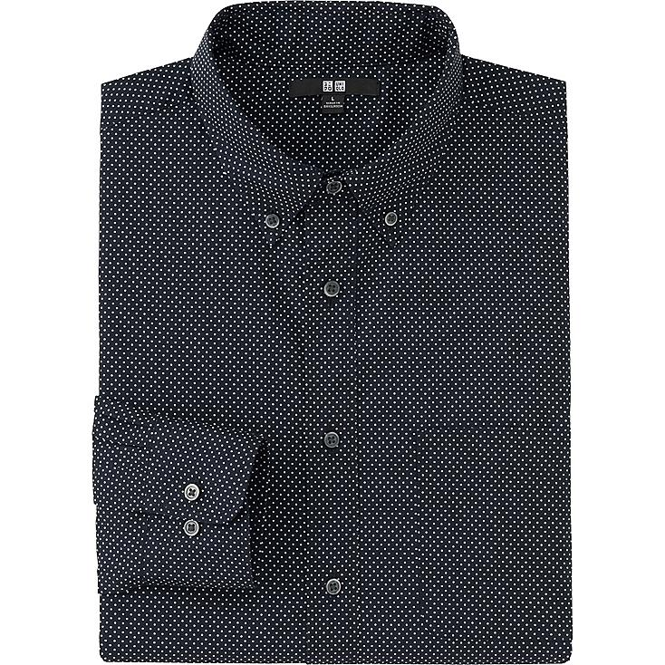 MEN EXTRA FINE COTTON BROADCLOTH PRINTED LONG SLEEVE SHIRT, NAVY, large