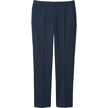 WOMEN SATIN ANKLE LENGTH PANTS, NAVY, medium