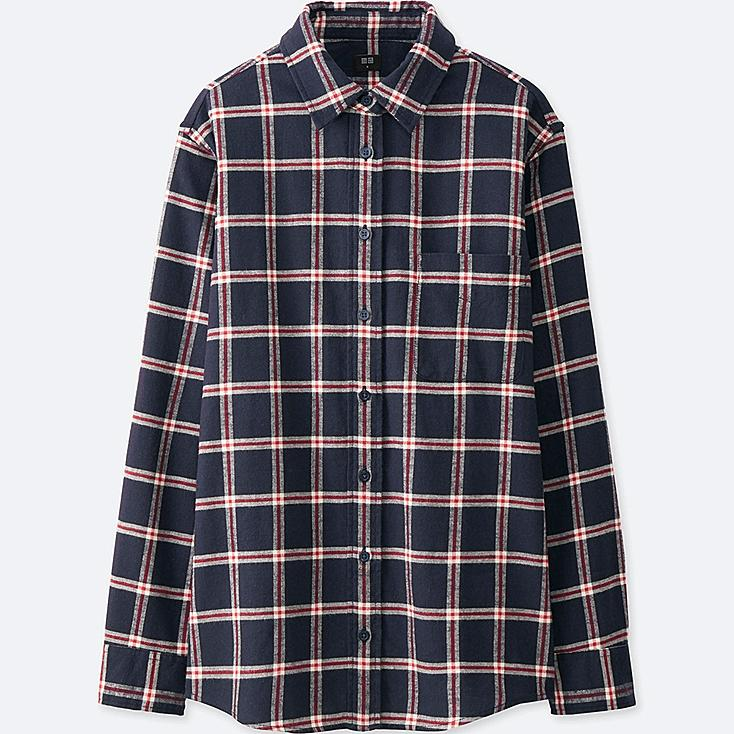 WOMEN FLANNEL CHECK LONG SLEEVE SHIRT, NAVY, large