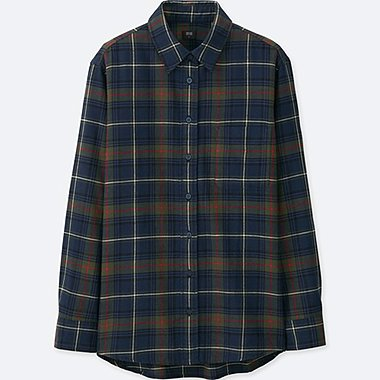 WOMEN FLANNEL CHECK LONG SLEEVE SHIRT, NAVY, medium