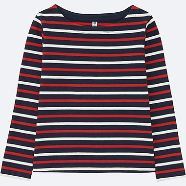GIRLS Striped Boat Neck Long Sleeve T-Shirt