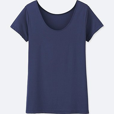WOMEN AIRism SCOOP NECK SHORT-SLEEVE T-SHIRT, NAVY, medium