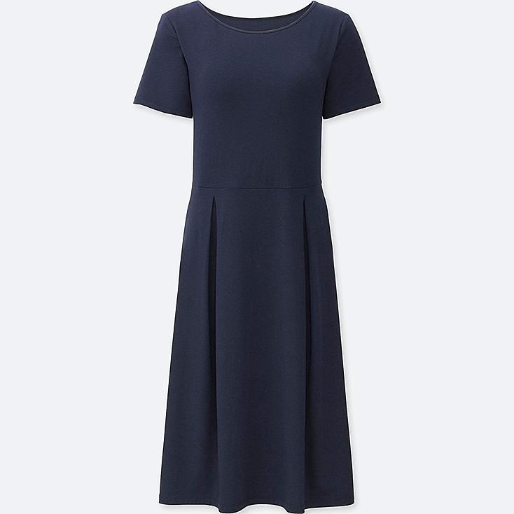 WOMEN SHORT SLEEVE BRA DRESS, NAVY, large