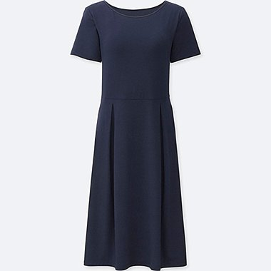 WOMEN SHORT SLEEVE BRA DRESS, NAVY, medium