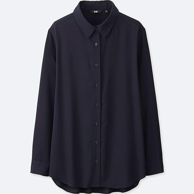 WOMEN RAYON LONG SLEEVE BLOUSE, NAVY, large