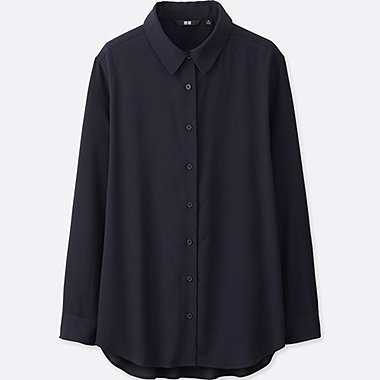 WOMEN RAYON LONG SLEEVE BLOUSE, NAVY, medium