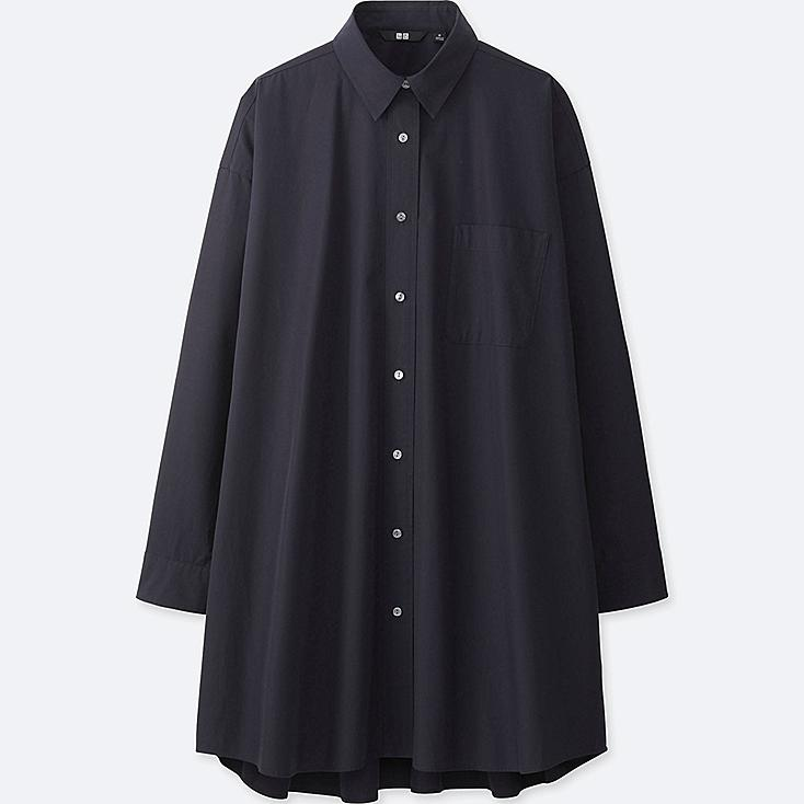 WOMEN EXTRA FINE COTTON OVERSIZED LONG SLEEVE LONG SHIRT, NAVY, large
