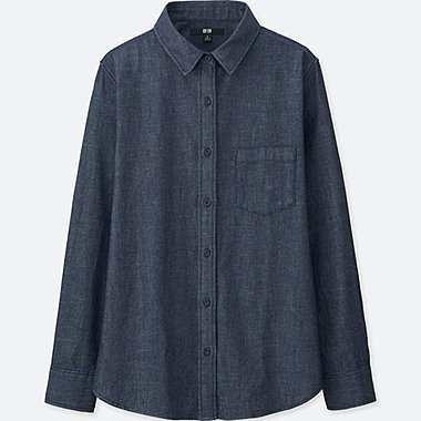 WOMEN DENIM LONG-SLEEVE SHIRT, NAVY, medium