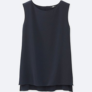 WOMEN Easy Care Drape Sleeveless Blouse