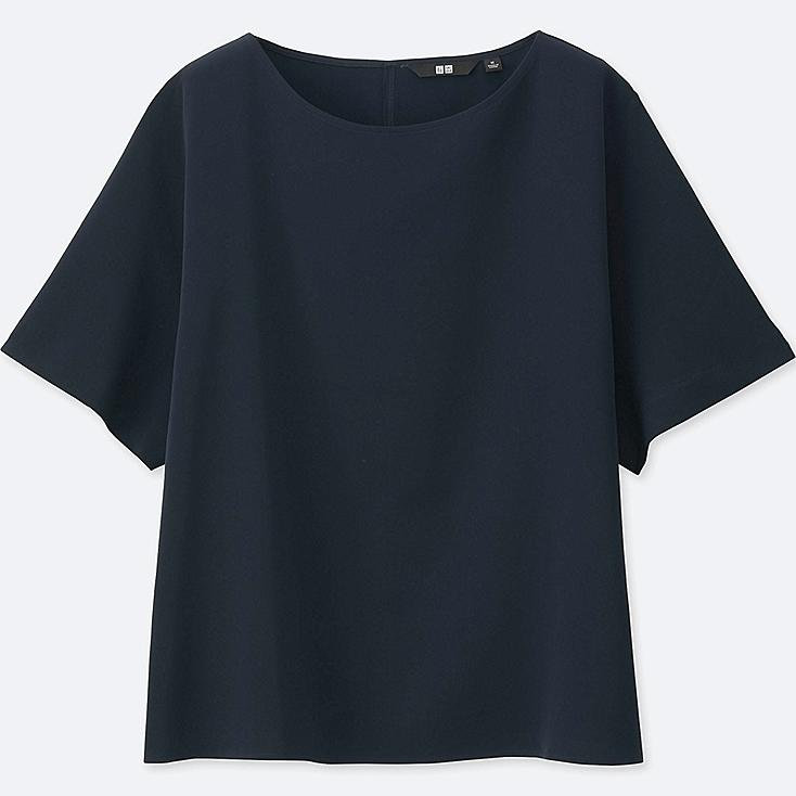 WOMEN DRAPE SHORT SLEEVE T BLOUSE, NAVY, large