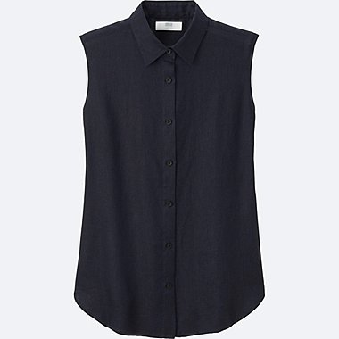 WOMEN PREMIUM LINEN SLEEVELESS SHIRT, NAVY, medium