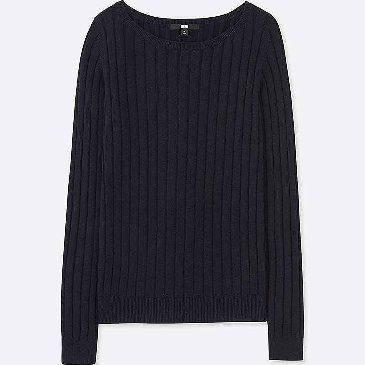 WOMEN COTTON CASHMERE WIDE RIBBED SWEATER, NAVY, large