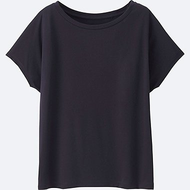 WOMEN Easy Care Drape Crew Neck Short Sleeve T-Shirt
