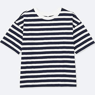 WOMEN SLUB STRIPED CREW NECK SHORT SLEEVE T-SHIRT, NAVY, medium