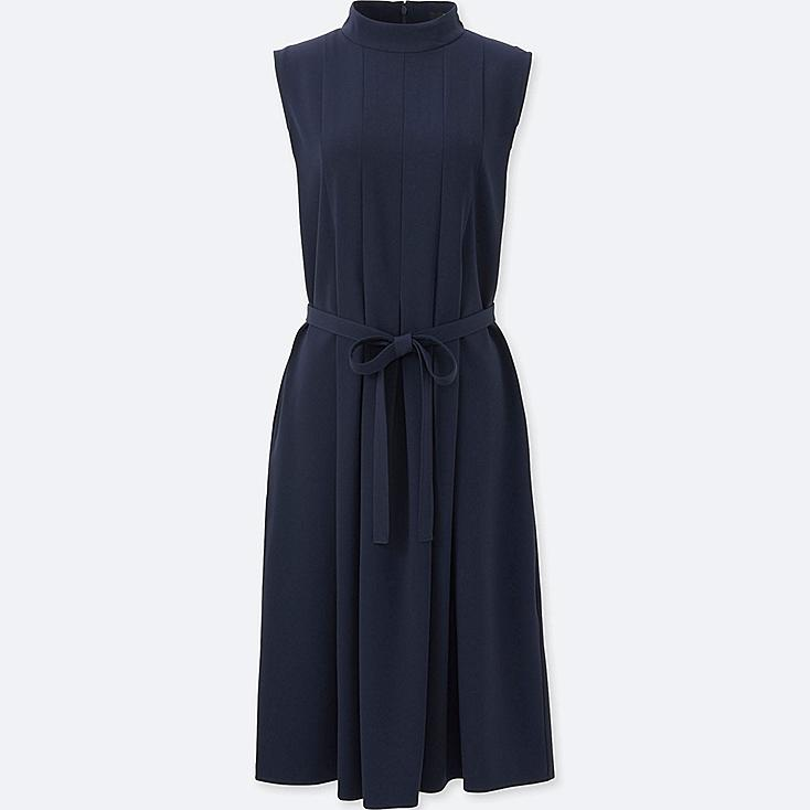 WOMEN CREPE BOX PLEATED SLEEVELESS DRESS, NAVY, large
