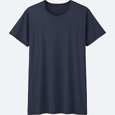 MEN AIRism CREW NECK SHORT-SLEEVE T-SHIRT, NAVY, medium
