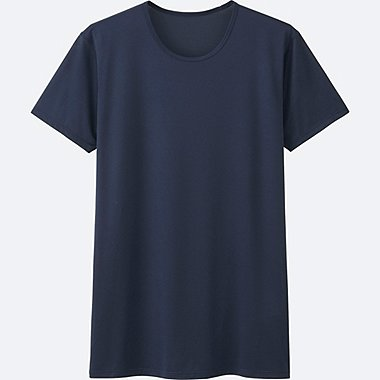 MEN AIRism MESH CREWNECK T-SHIRT SHORT SLEEVE, NAVY, medium