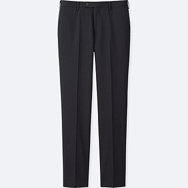 MEN STRETCH WOOL SLIM-FIT FLAT FRONT PANTS, NAVY, medium