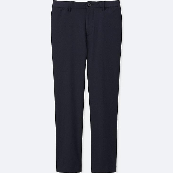 MEN RELAXED ANKLE PANTS (WOOL-LIKE), NAVY, large