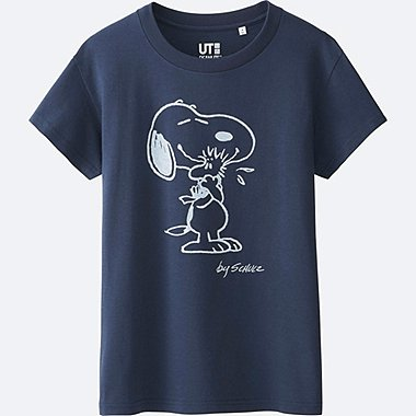 WOMEN PEANUTS SHORT SLEEVE GRAPHIC T-SHIRT, NAVY, medium