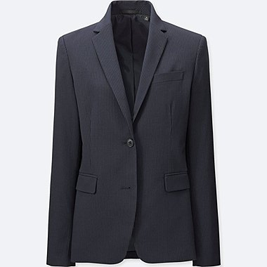 WOMEN STRETCH TAILORED JACKET, NAVY, medium