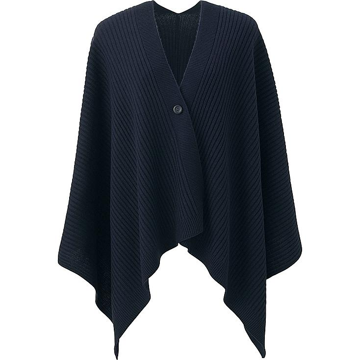 WOMEN 2-WAY KNIT STOLE, NAVY, large
