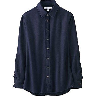 WOMEN IDLF DOBBY CLOTH BASIC LONG SLEEVE SHIRT, NAVY, medium