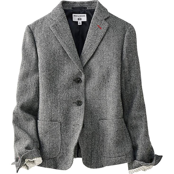 Womens black and white tweed blazer