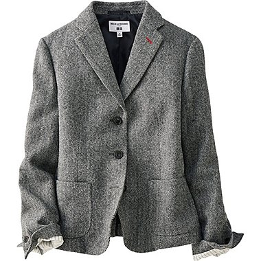 WOMEN IDLF SOFT TWEED JACKET, NAVY, medium