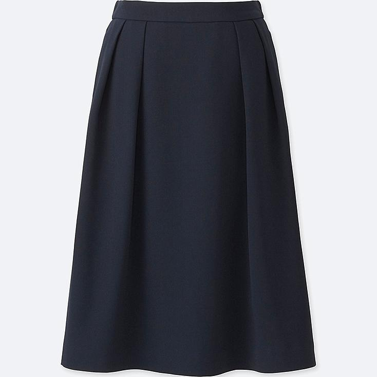 WOMEN HIGH WAIST CREPE TUCKED SKIRT, NAVY, large