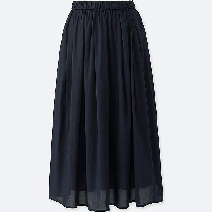 Women High Waist Cotton Lawn Volume Skirt, NAVY, large