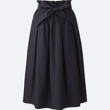 WOMEN High Waist Belted Flare Midi Skirt