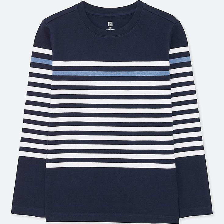 Boys Striped Crewneck Long Sleeve T Shirt Uniqlo Us